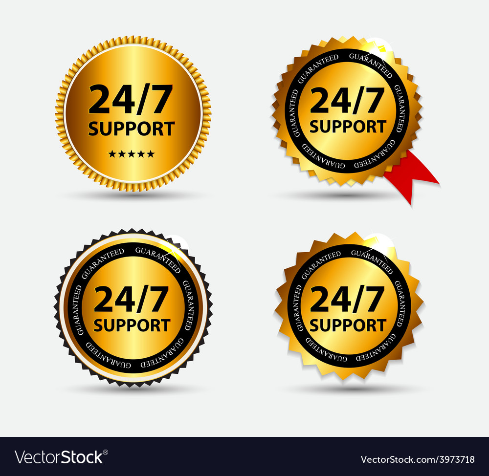 24-7 support sign label template vector   Price: 1 Credit (USD $1)
