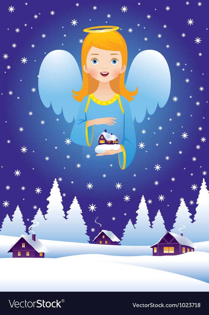 Christmas angel in the sky vector | Price: 3 Credit (USD $3)