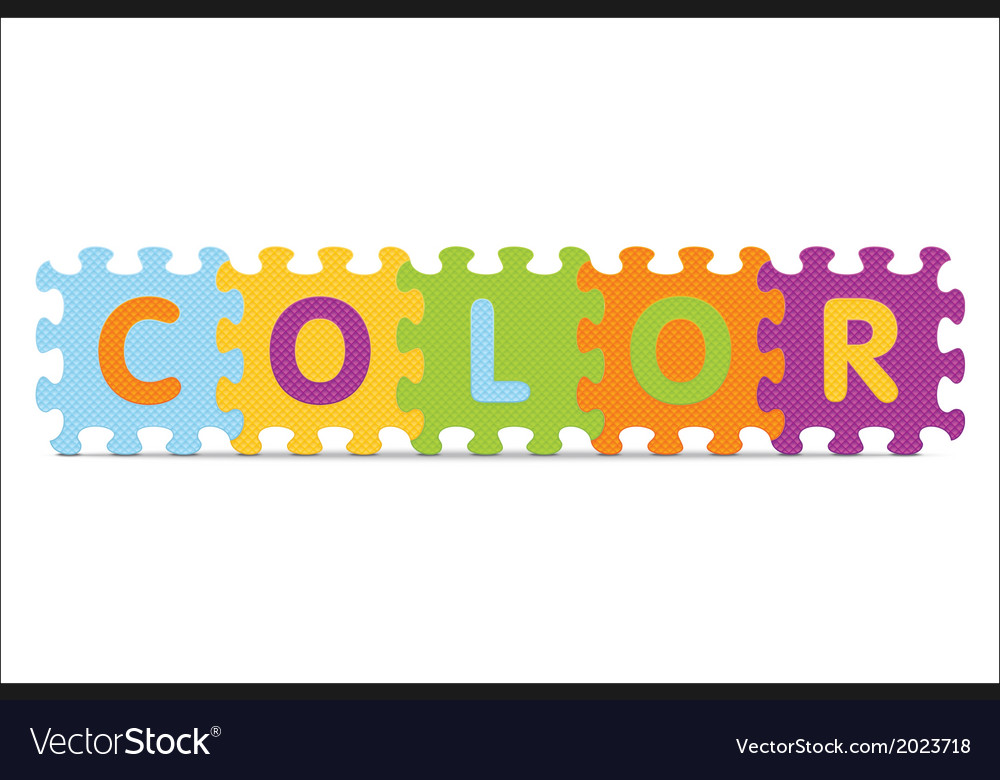 Color written with alphabet puzzle vector | Price: 1 Credit (USD $1)