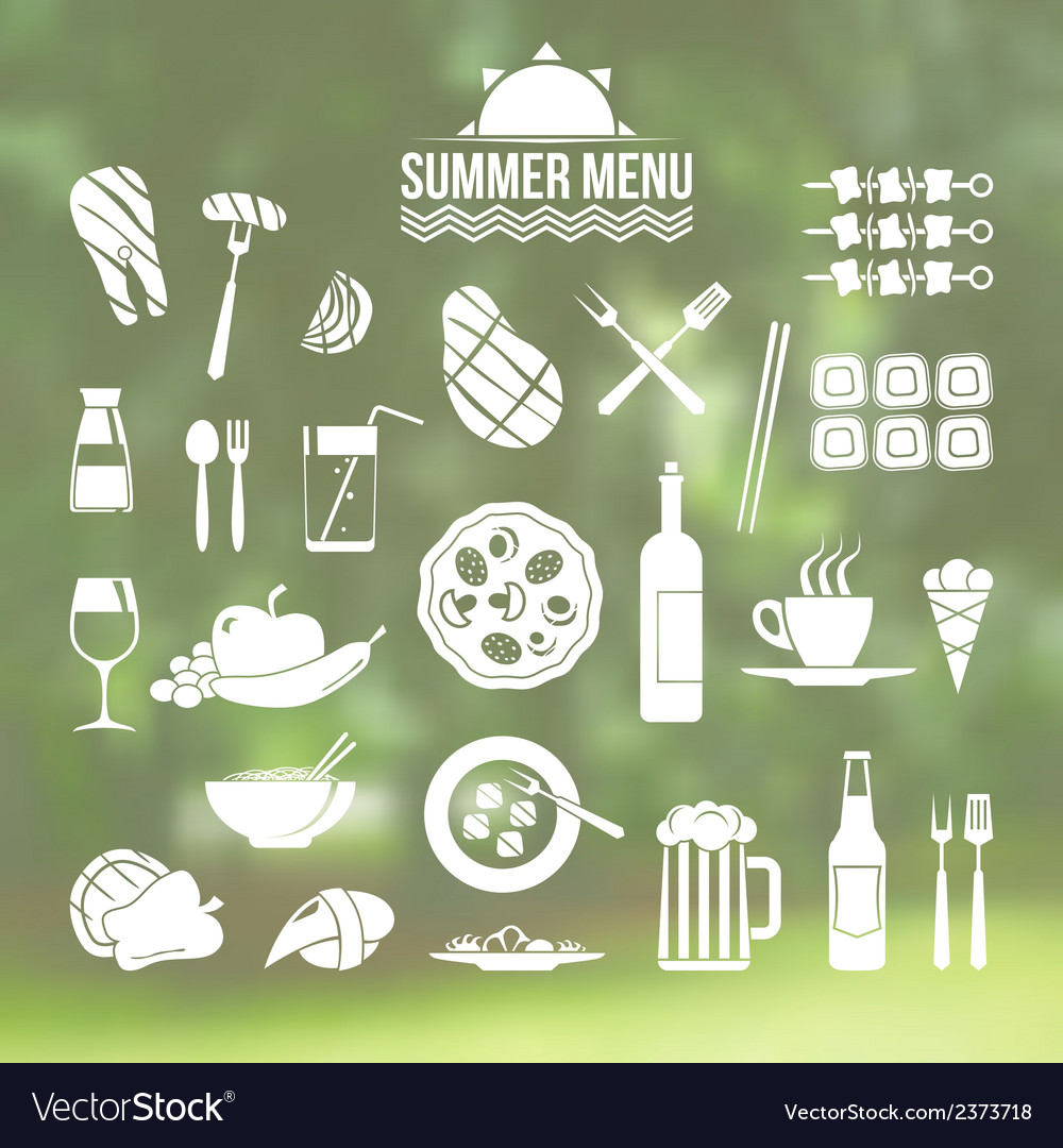 Icon set summer menu vector | Price: 1 Credit (USD $1)