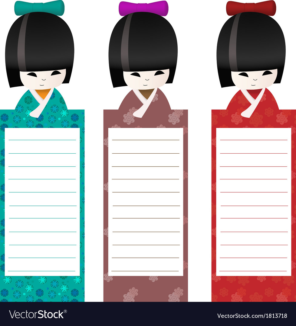 Kokeshi bookmark background vector | Price: 1 Credit (USD $1)