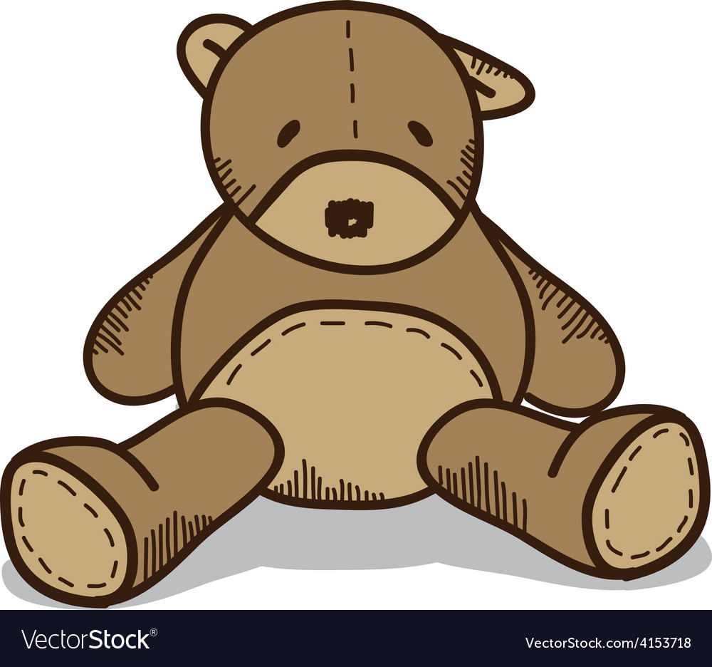 Little brown teddy bear vector | Price: 1 Credit (USD $1)