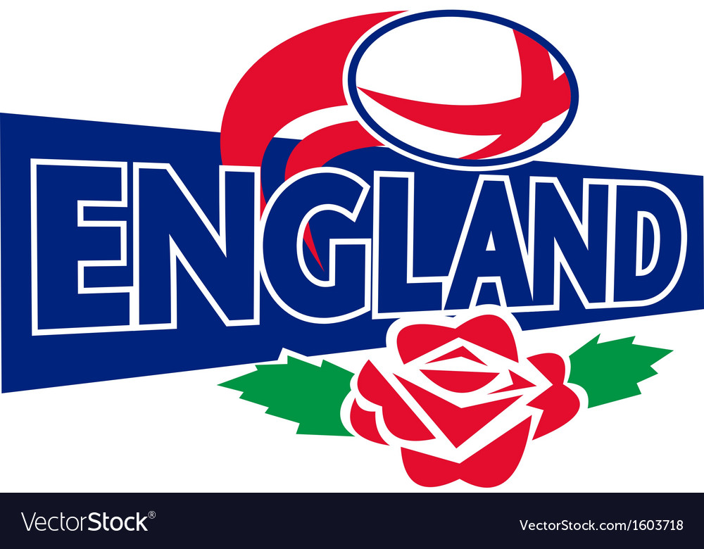 Rugby ball england english rose vector | Price: 1 Credit (USD $1)