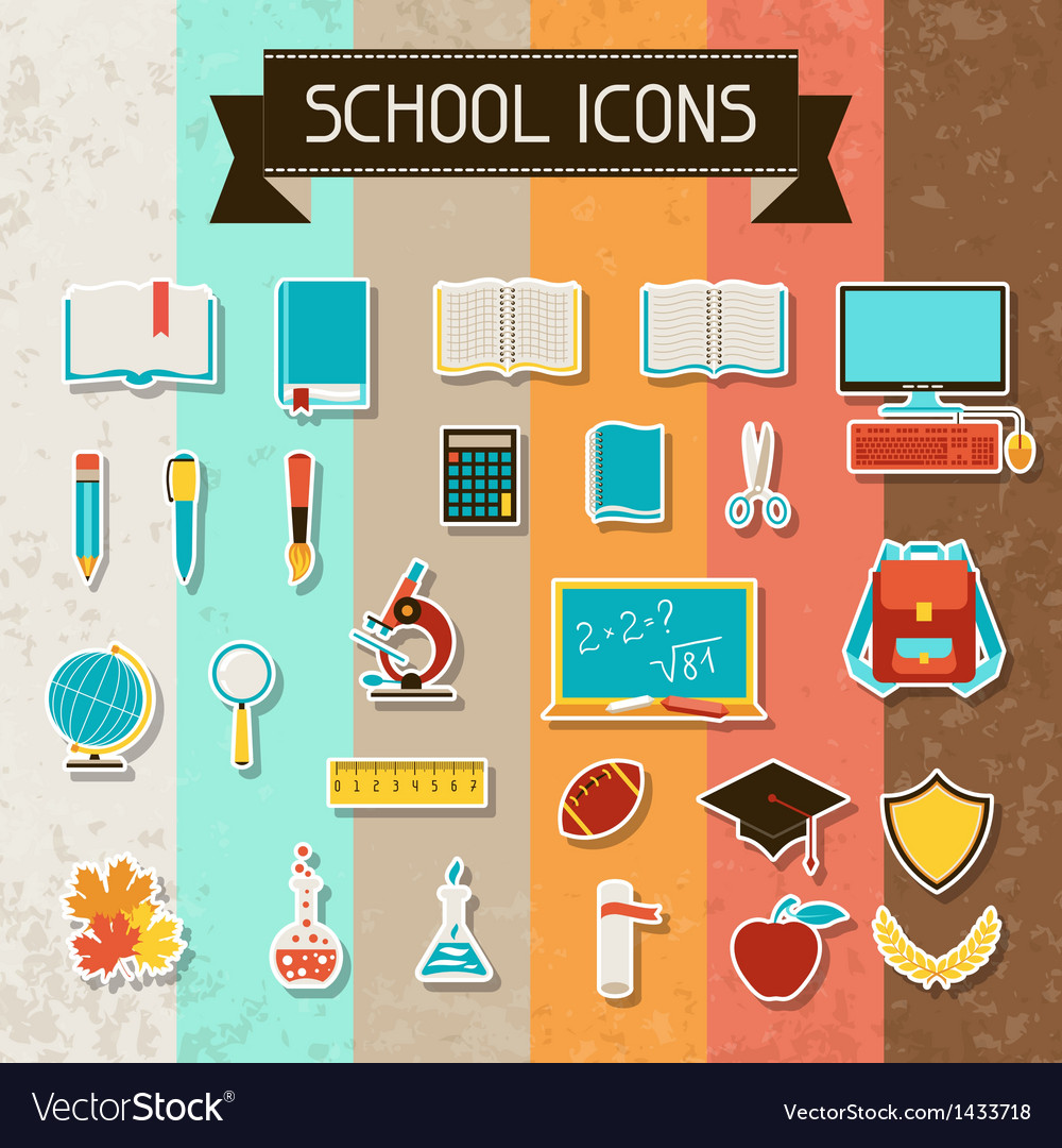 School and education sticker icons set vector | Price: 3 Credit (USD $3)