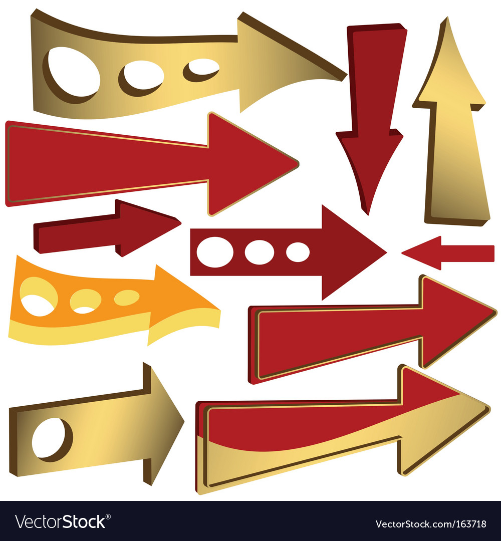 Set of gold and red arrow icons vector | Price: 1 Credit (USD $1)
