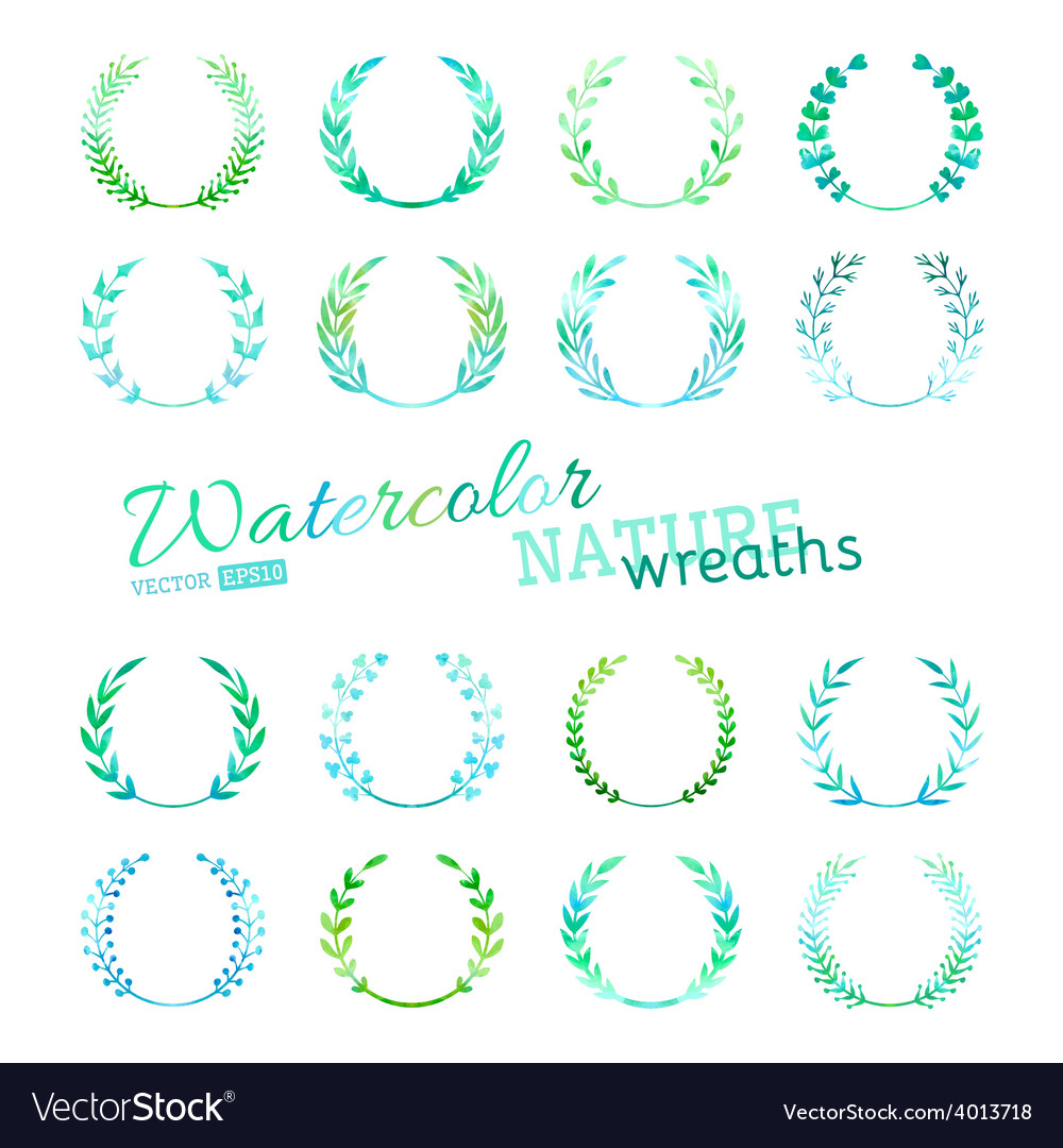 Set of watercolour nature wreaths vector | Price: 1 Credit (USD $1)