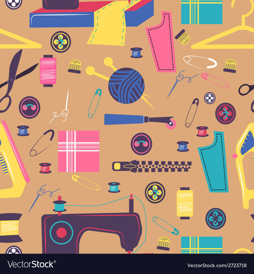 Sewing related elements seamless color pattern vector | Price: 1 Credit (USD $1)