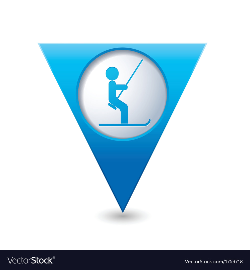 Ski lift icon on blue triangular map pointer vector | Price: 1 Credit (USD $1)