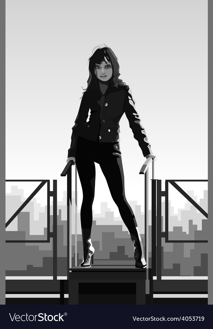 Beautiful girl standing on the roof in the city vector | Price: 3 Credit (USD $3)
