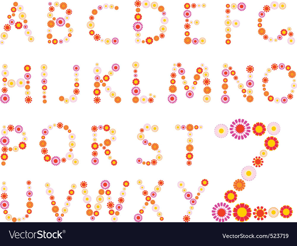 Daisy alphabet vector | Price: 1 Credit (USD $1)