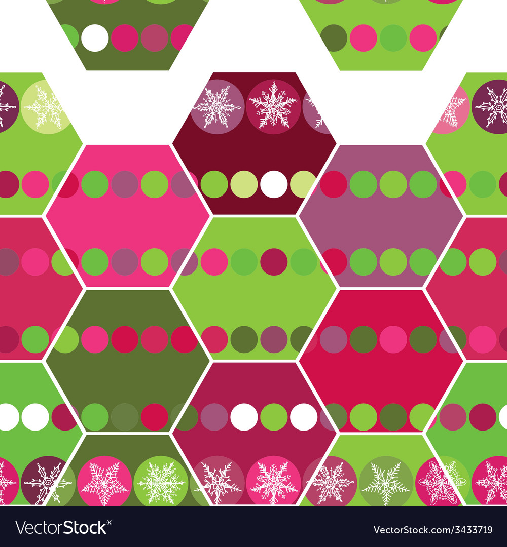Festive seamless pattern hexagon and christmas vector   Price: 1 Credit (USD $1)