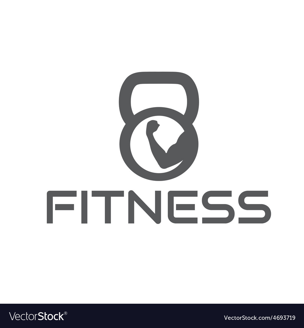 Fitness emblem with muscle and kettlebell vector   Price: 1 Credit (USD $1)