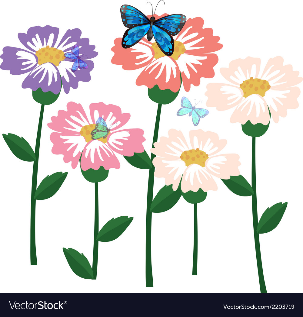 Fresh flowers with butterflies vector | Price: 1 Credit (USD $1)