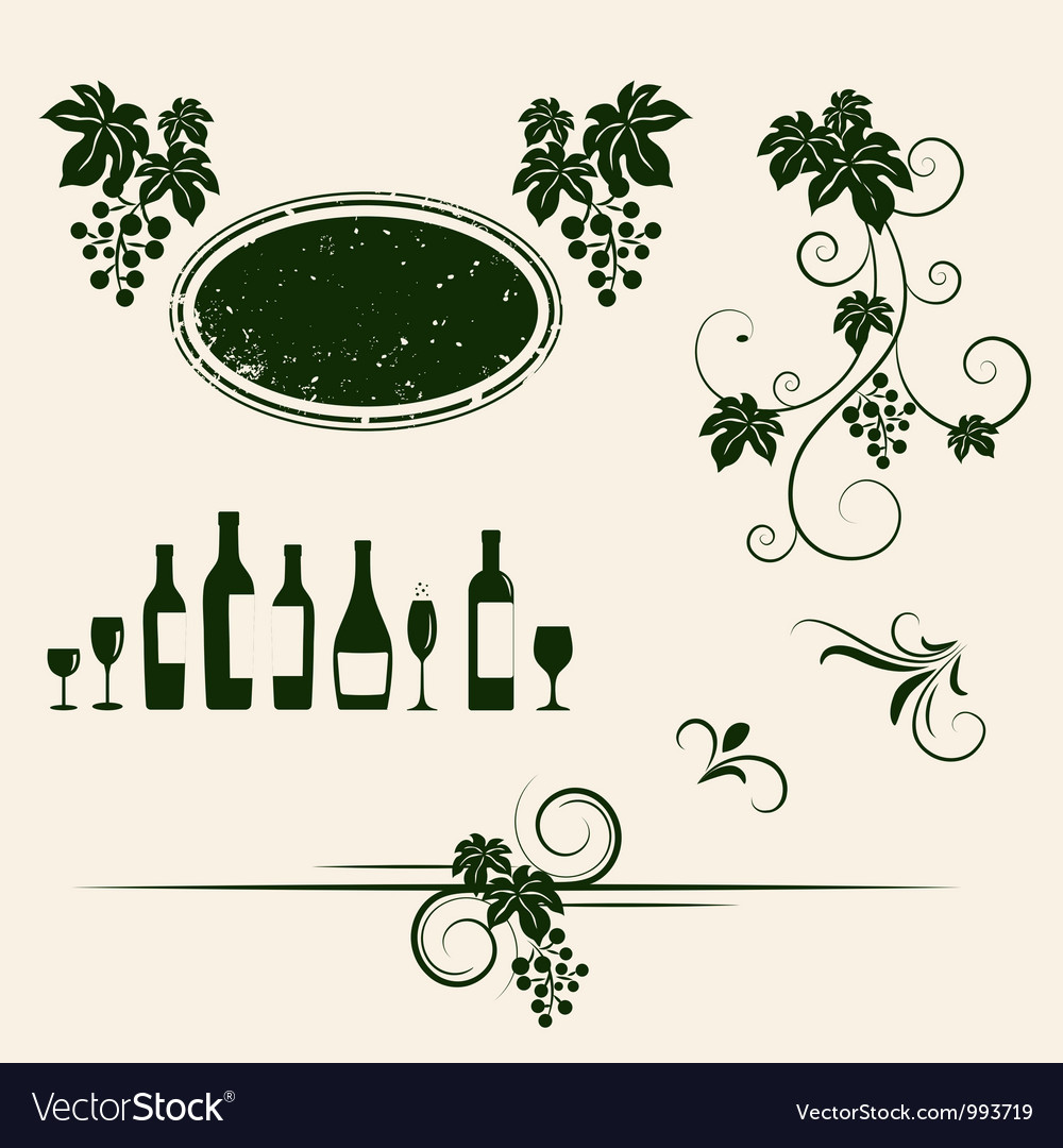 Grape vines element set vector | Price: 1 Credit (USD $1)