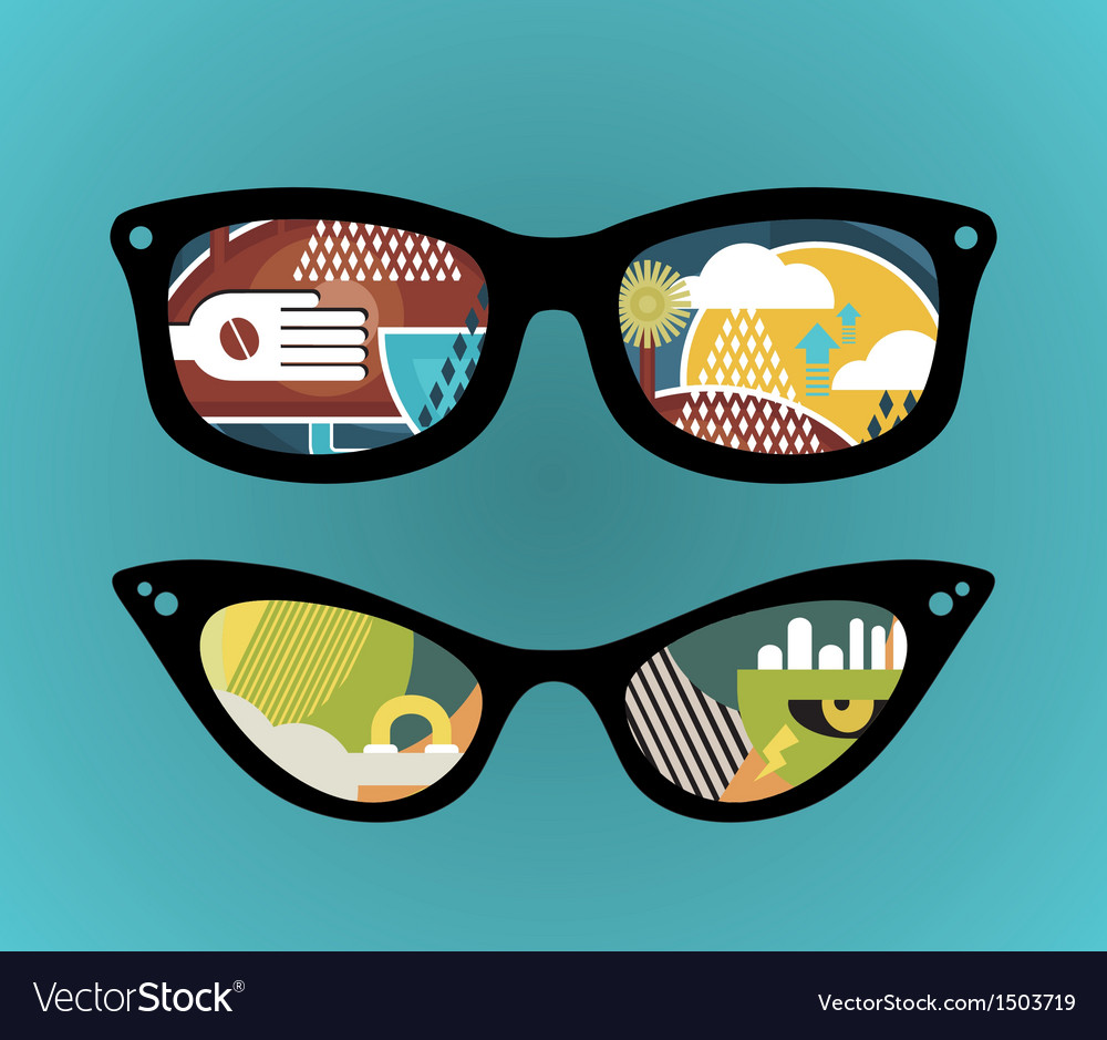 Retro sunglasses with super abstract reflection vector | Price: 1 Credit (USD $1)