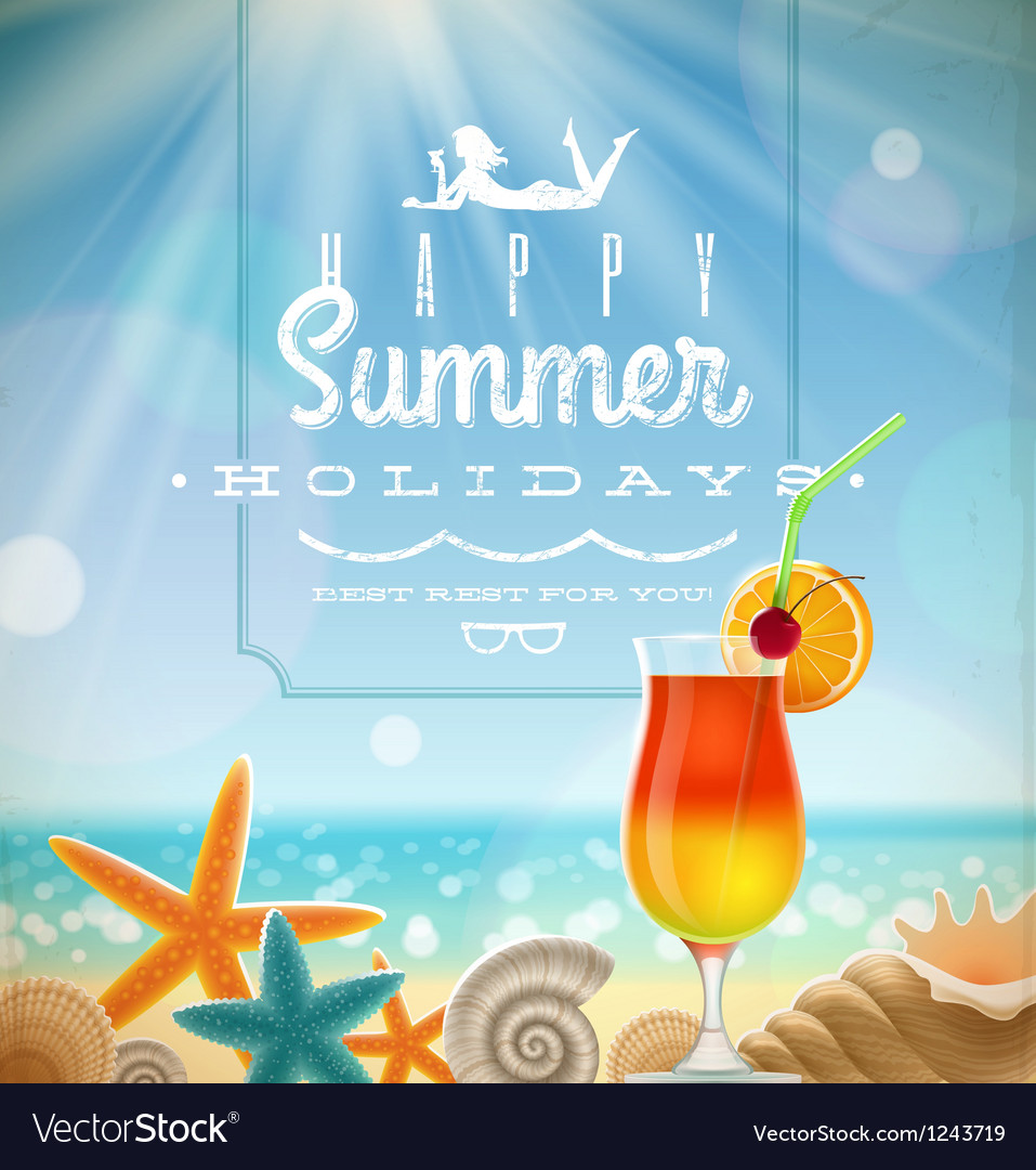 Summer holidays with lettering emblem vector | Price: 3 Credit (USD $3)