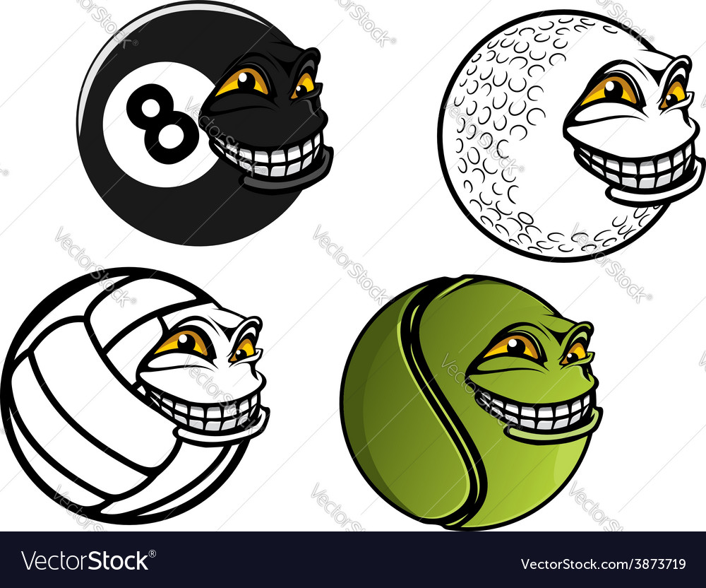 Tennis golf volleyball billiard cartoon balls vector | Price: 1 Credit (USD $1)
