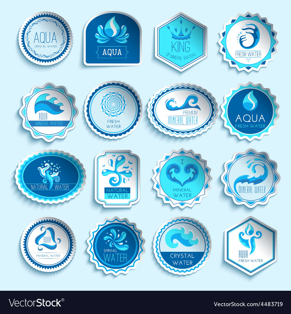 Water labels set vector | Price: 1 Credit (USD $1)