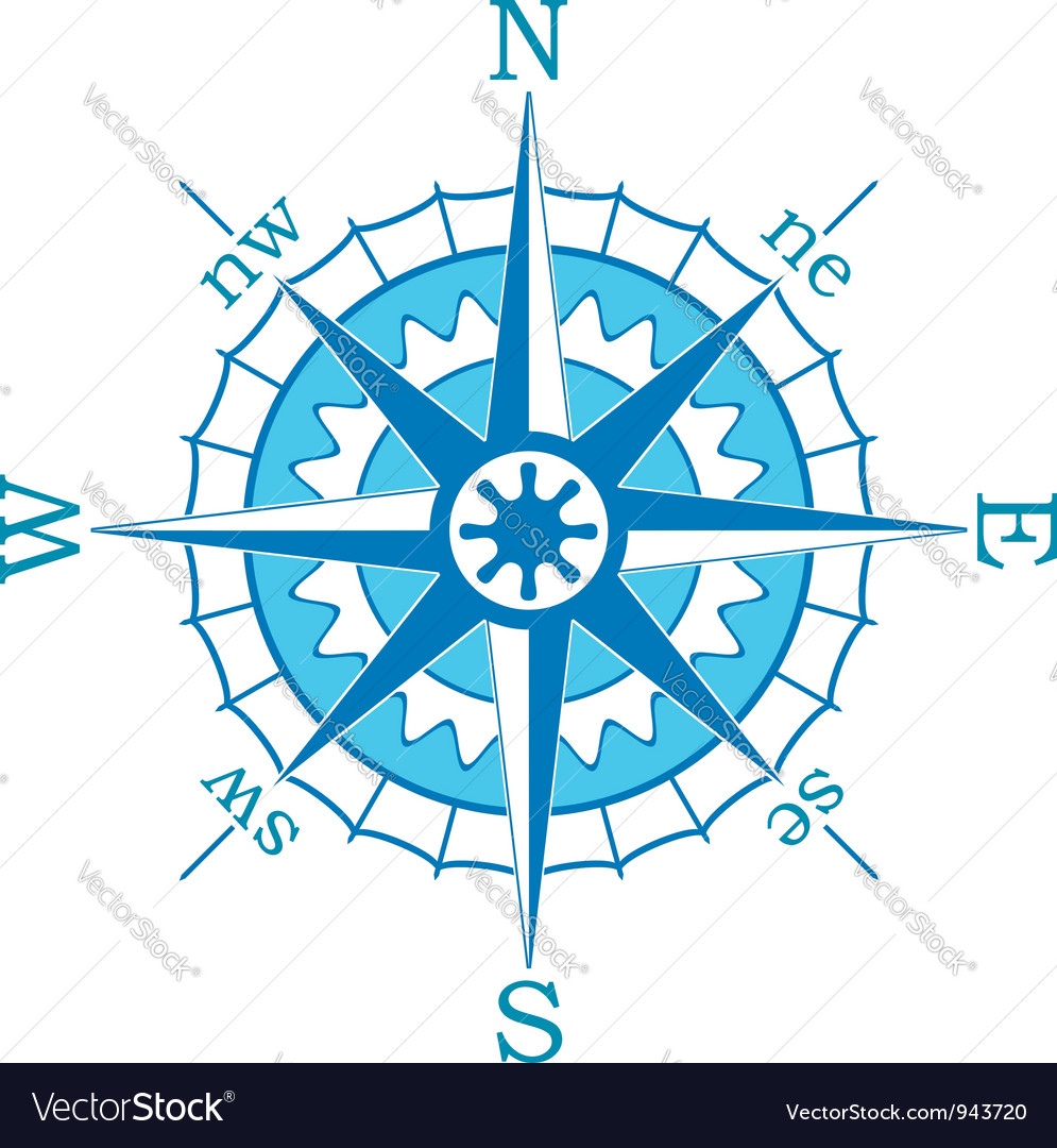 Blue compass vector | Price: 1 Credit (USD $1)