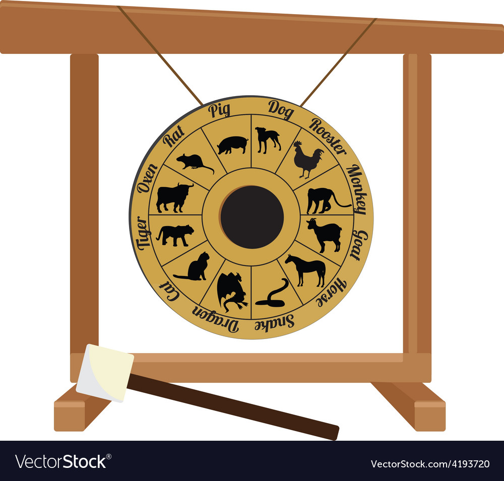 Chinese gong with zodiac and hammer vector | Price: 1 Credit (USD $1)