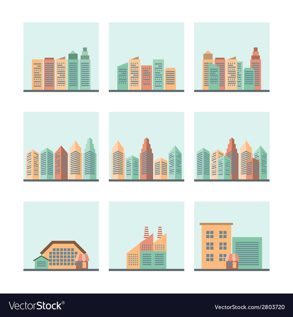 Cityscape icons set vector | Price: 1 Credit (USD $1)