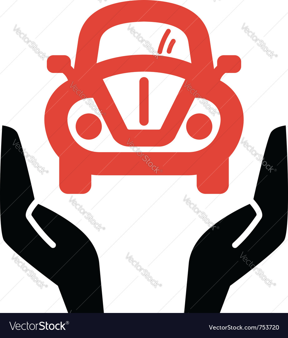 Hands holding red retro car icon vector | Price: 1 Credit (USD $1)