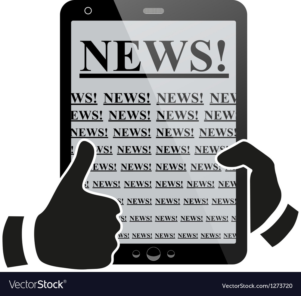 Hands holding tablet pc with news vector | Price: 1 Credit (USD $1)