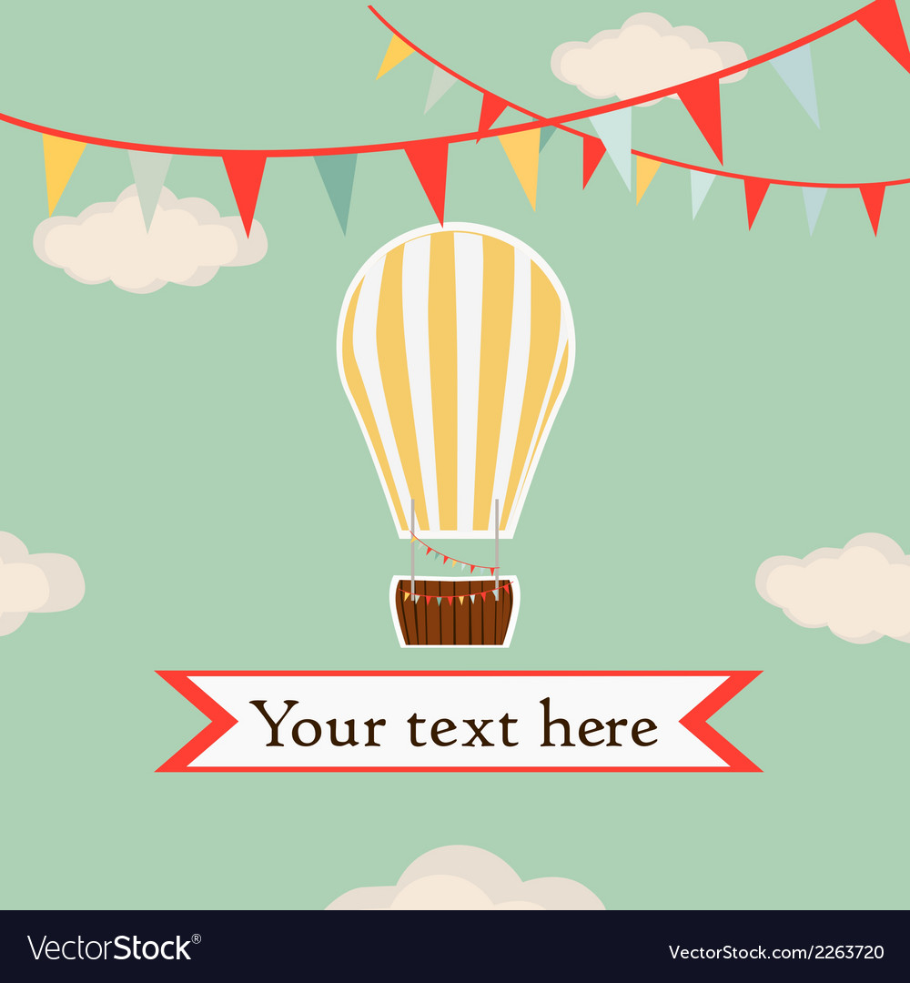 Hot air balloon in the sky with garland background vector | Price: 1 Credit (USD $1)