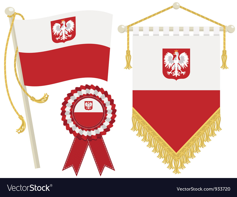 Poland flags vector | Price: 1 Credit (USD $1)
