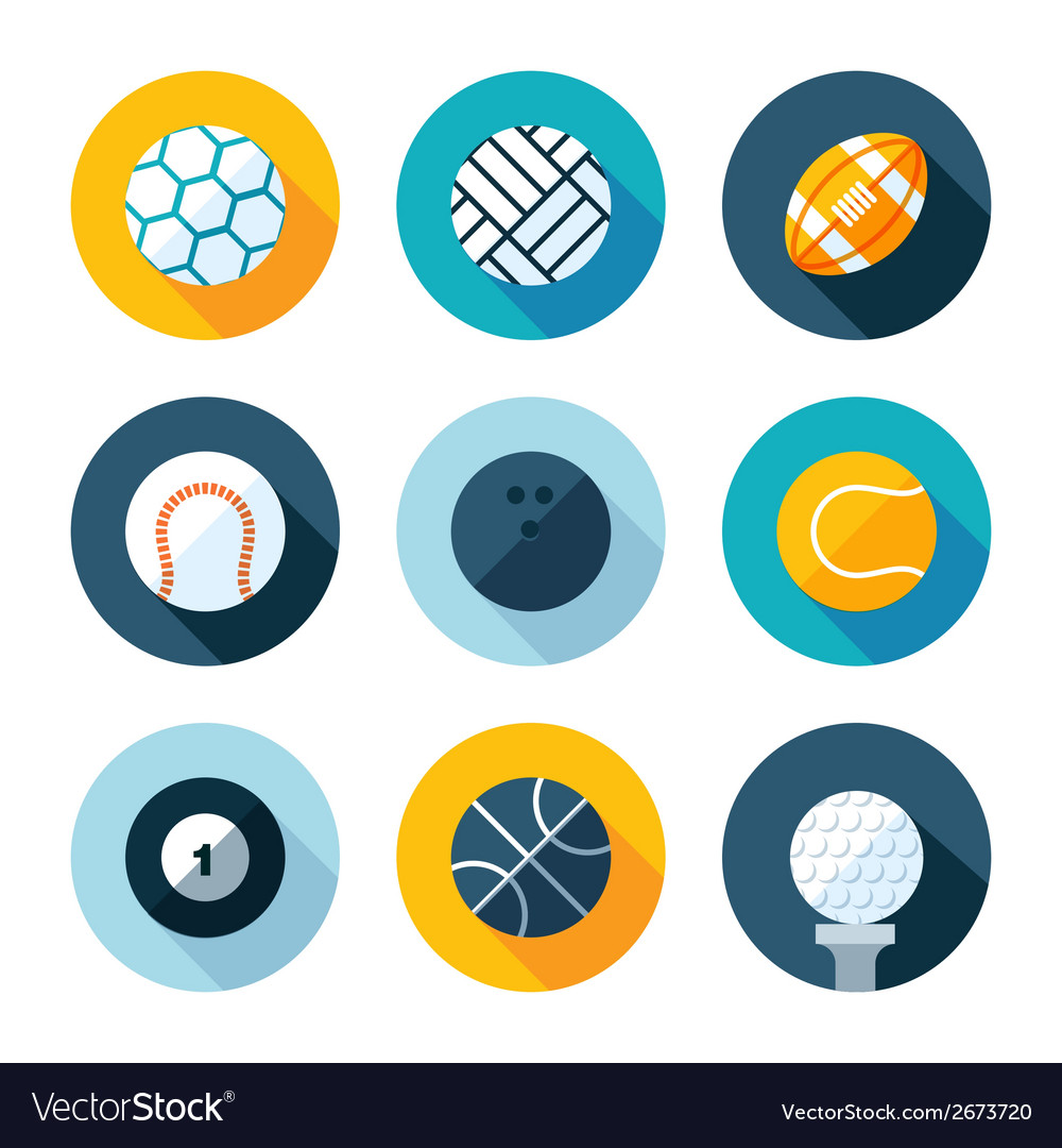 Set of flat sports icons vector | Price: 1 Credit (USD $1)