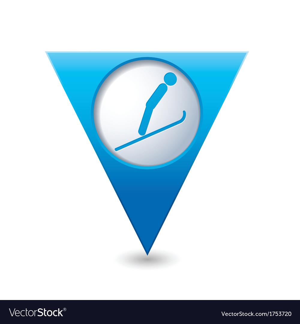 Ski springboard icon on blue triangular map vector   Price: 1 Credit (USD $1)
