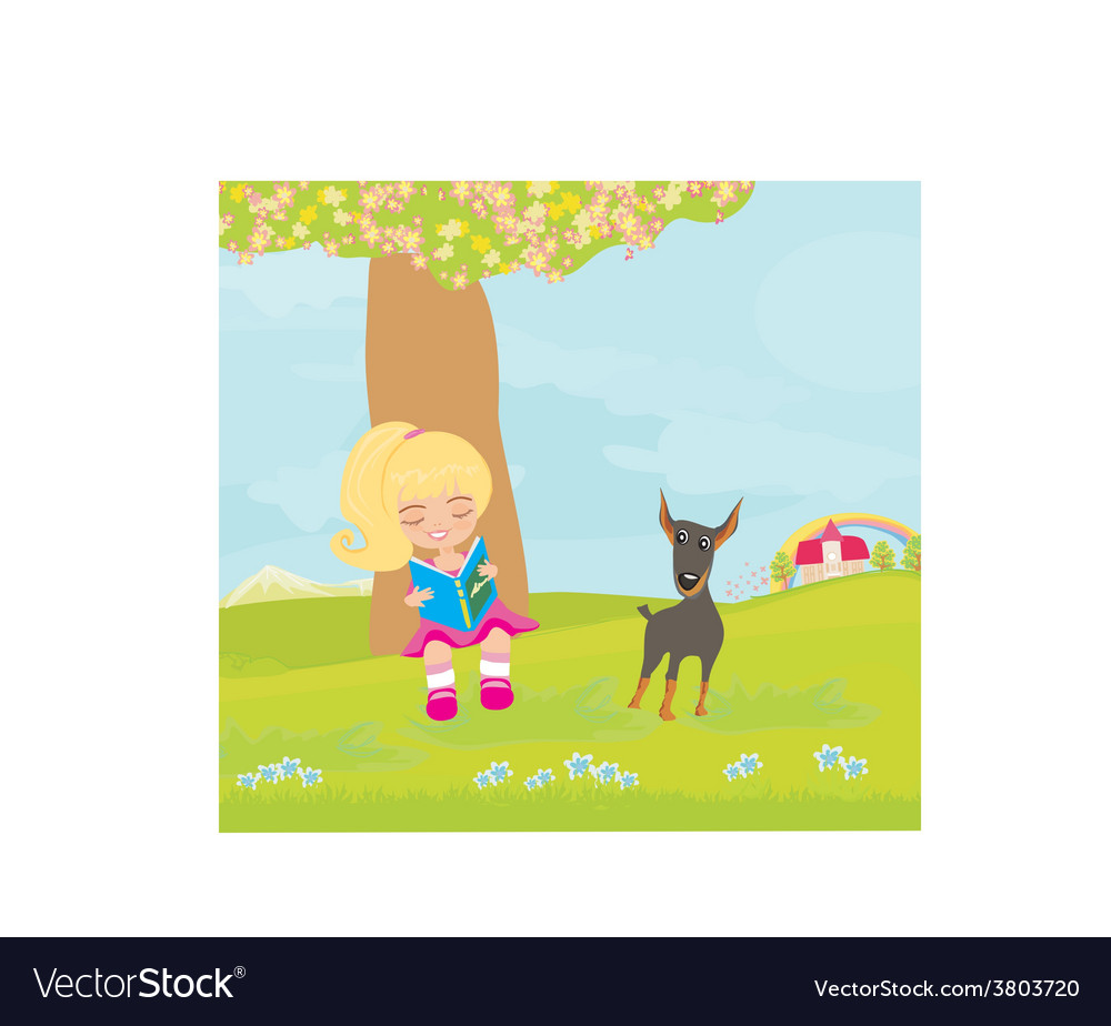 Teen girl reading a book vector | Price: 1 Credit (USD $1)