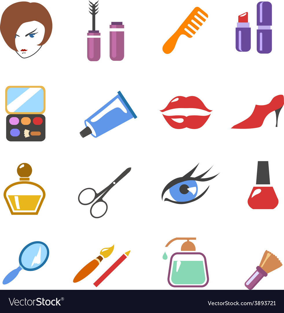 Beauty and make up colored icons vector