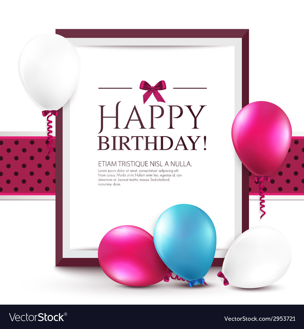 Birthday card with balloons and frame vector | Price: 1 Credit (USD $1)