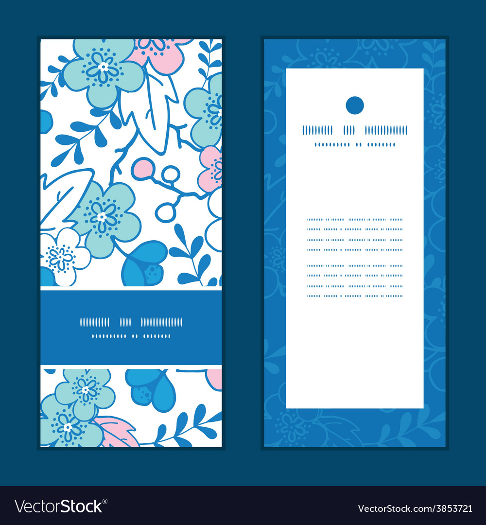 Blue and pink kimono blossoms vertical vector | Price: 1 Credit (USD $1)