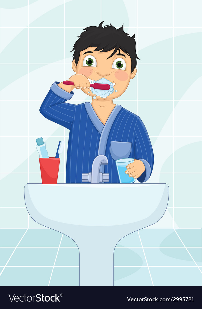 Boy brushing teeth vector | Price: 1 Credit (USD $1)