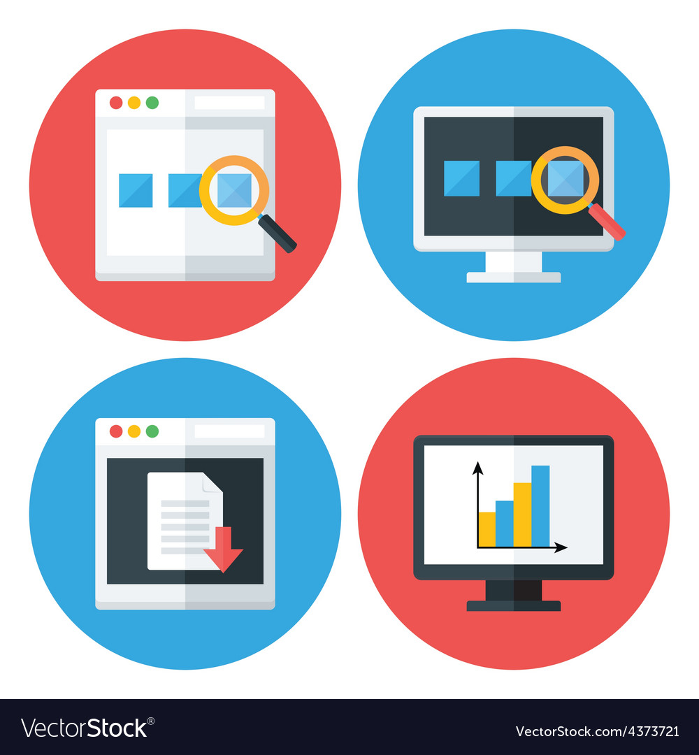 Computer browser technology flat circle icons set vector | Price: 1 Credit (USD $1)