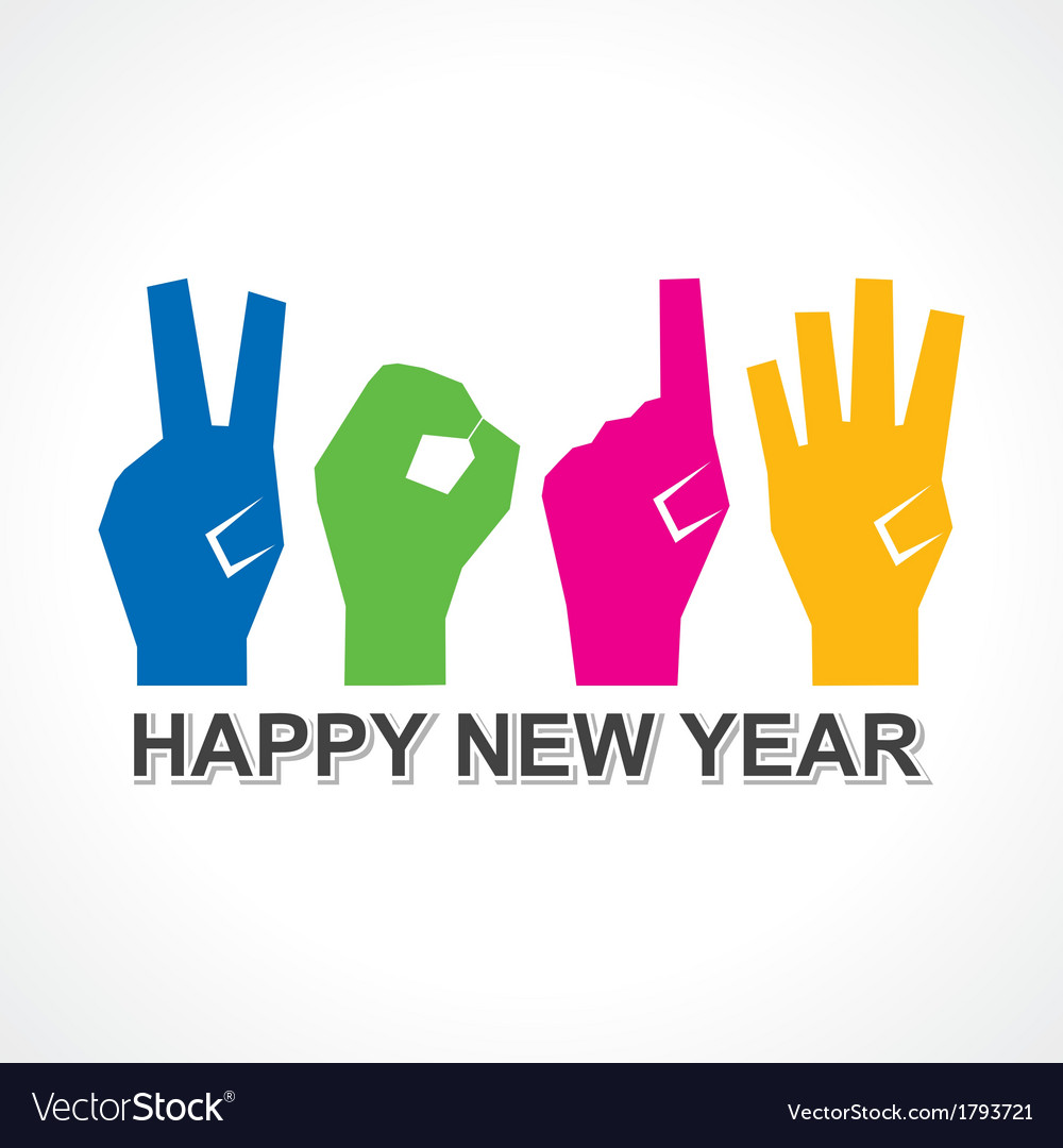 Creative new year2014 concept with finger vector | Price: 1 Credit (USD $1)