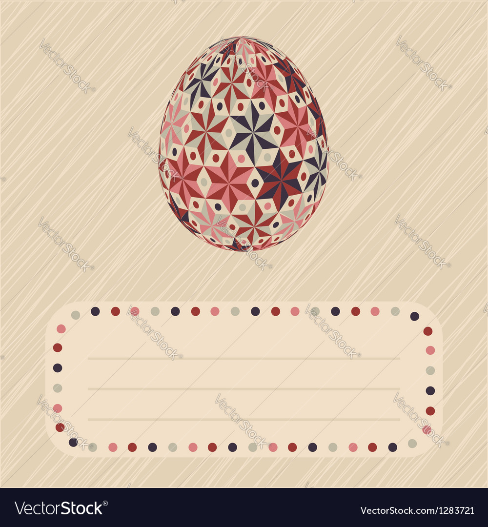 Easter card with patterned egg and border vector | Price: 1 Credit (USD $1)