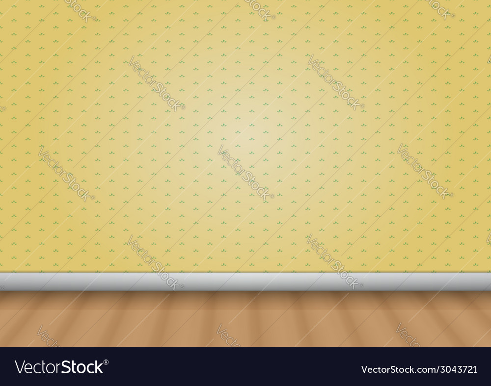 Empty room with wood floor and pattern wall vector | Price: 1 Credit (USD $1)
