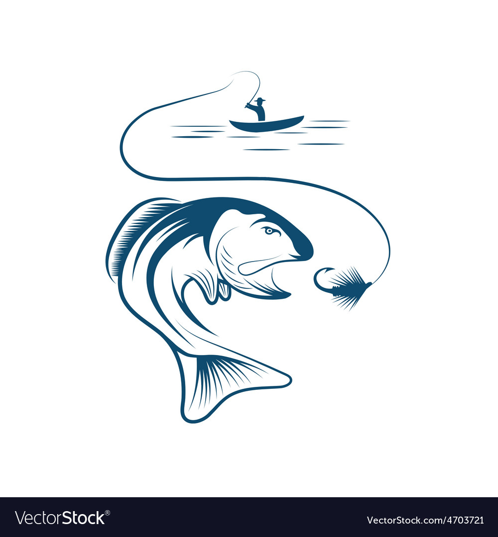 Fisherman in boat and salmon vector | Price: 1 Credit (USD $1)