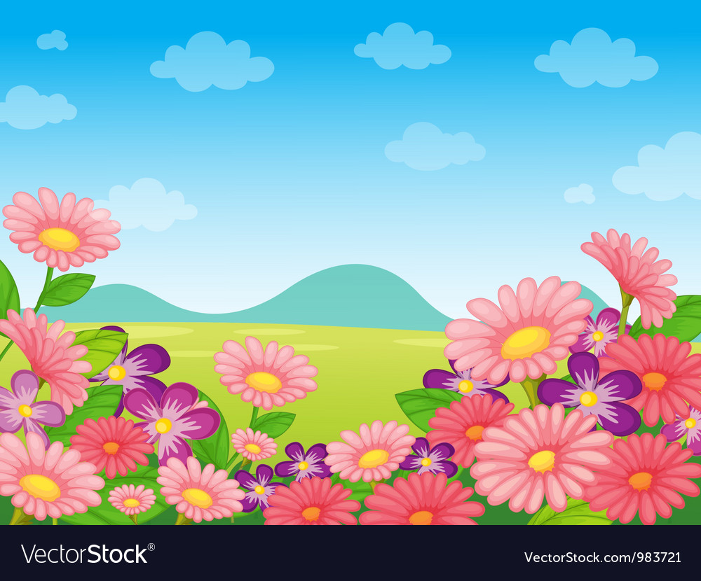 Floral field background background vector | Price: 1 Credit (USD $1)
