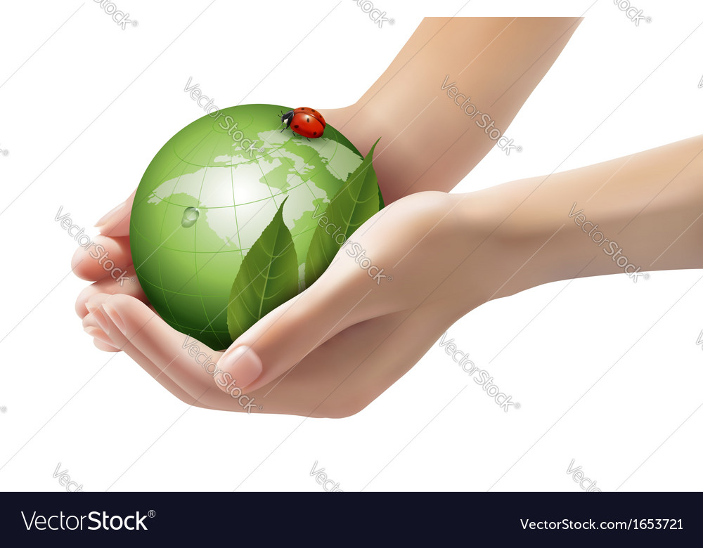 Green world and leaf have love bug in woman hands vector | Price: 3 Credit (USD $3)