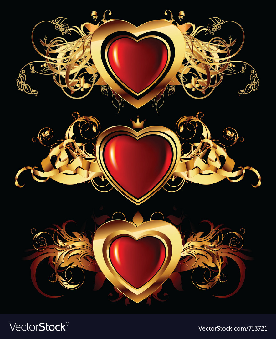 Heart forms with ornate elements vector | Price: 3 Credit (USD $3)
