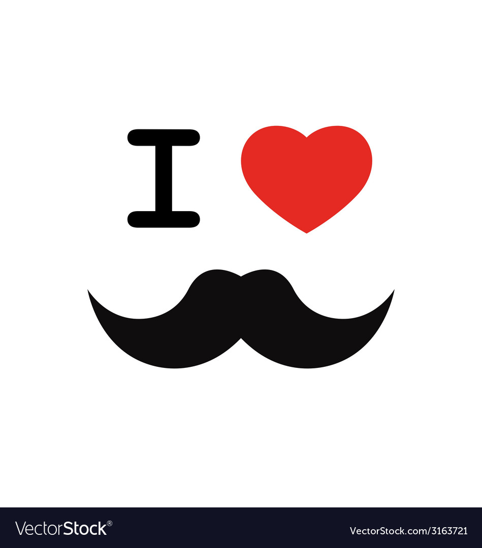 I love mustache with red heart shape vector | Price: 1 Credit (USD $1)