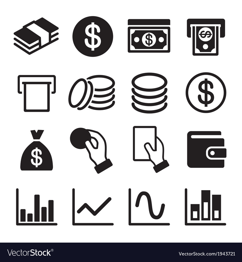 Money and business icon set vector | Price: 1 Credit (USD $1)