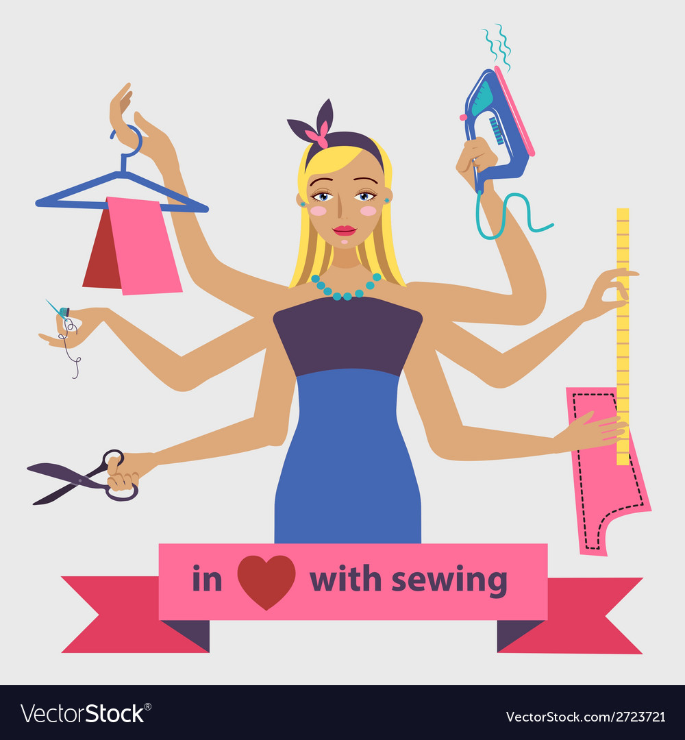 Sewing with dressmaker and differnt tools vector | Price: 1 Credit (USD $1)
