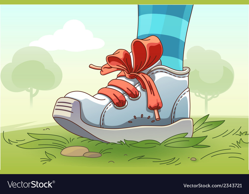 Small sneaker on the grass vector | Price: 3 Credit (USD $3)