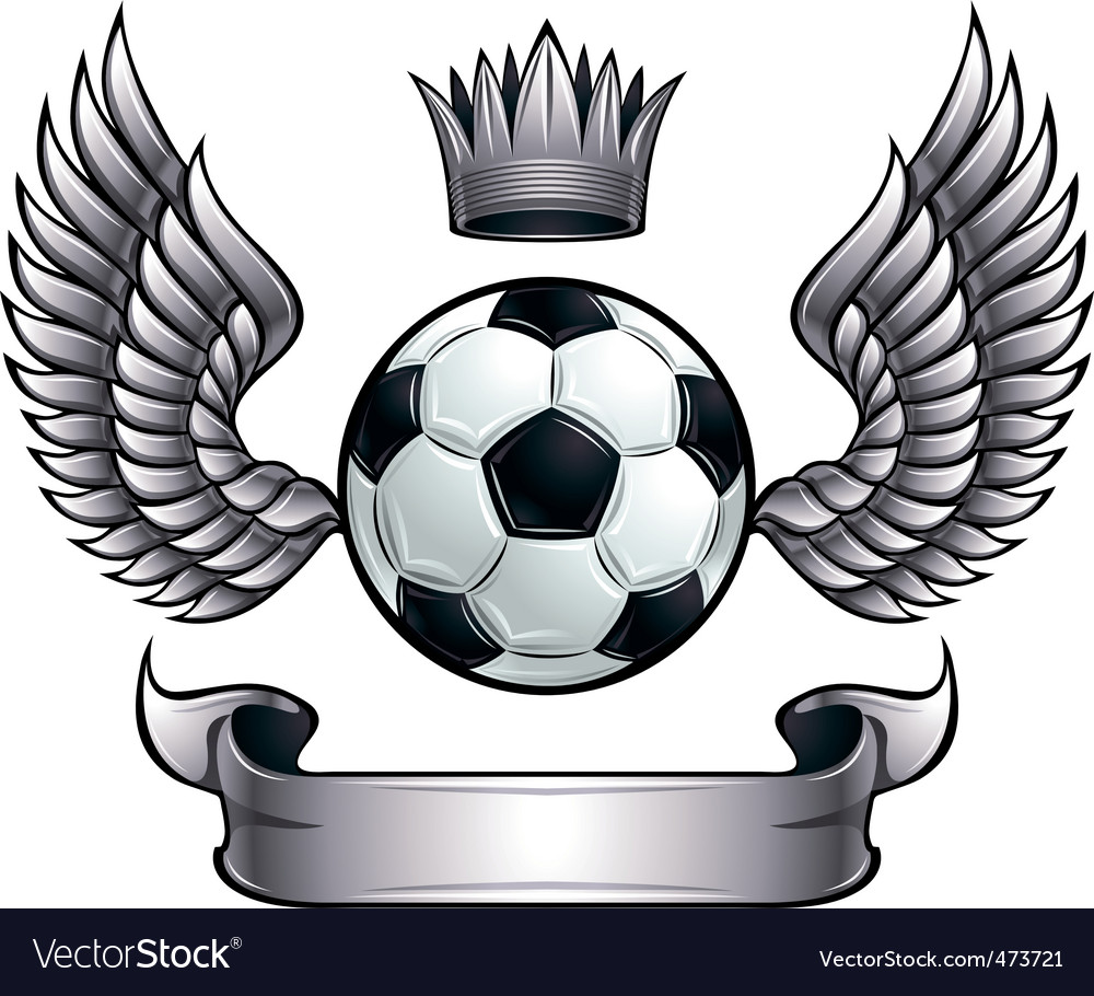 Winged soccer ball emblem vector | Price: 1 Credit (USD $1)