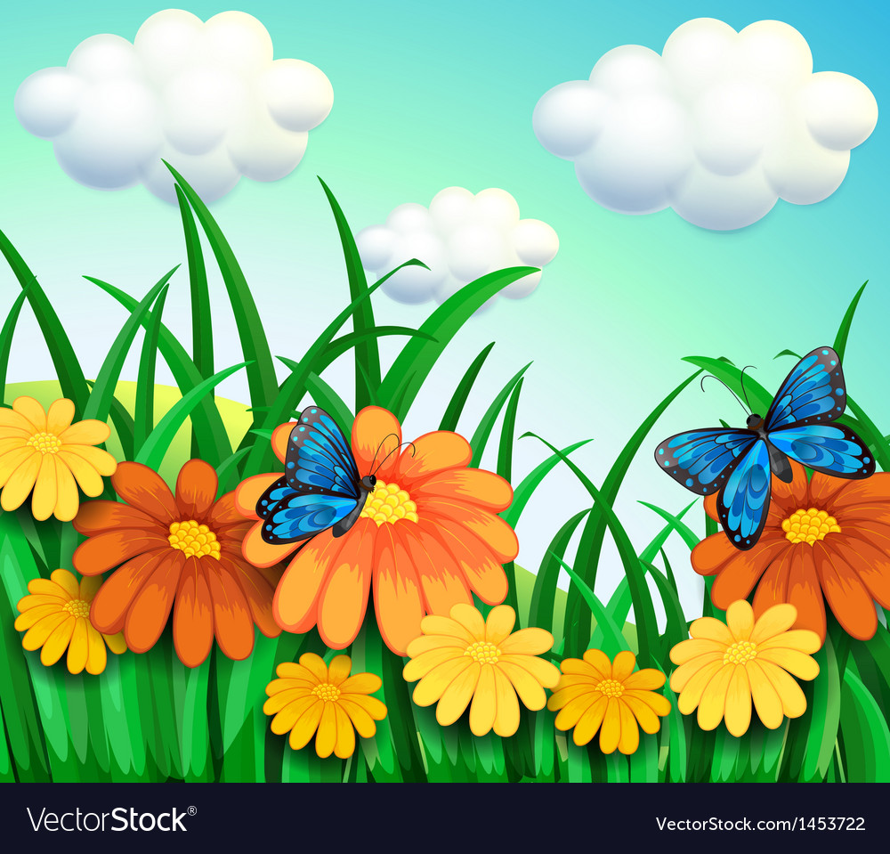 A hill with a garden with fresh flowers vector | Price: 1 Credit (USD $1)